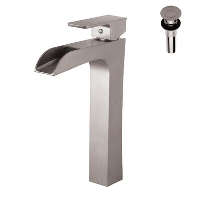 Single Handle Deck Mount Vessel Faucet Finish: Nickel, Pop-Up Drain Included: Yes