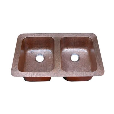 34.75 x 22 Hammered Double Bowl Undermount or Topmount Kitchen Sink