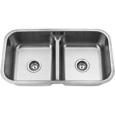 Stainless Steel Undermount Double Bowl Kitchen Sink with a Low Divider