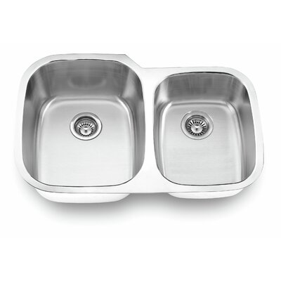 32.13 x 20.63 Undermount Double Bowl Kitchen Sink Finish: Satin