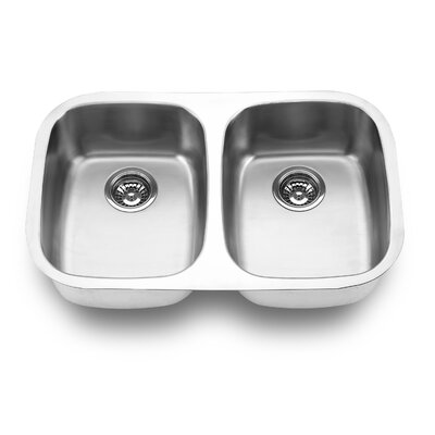 29.13 x 18.5 Undermount Double Bowl Kitchen Sink Finish: Satin