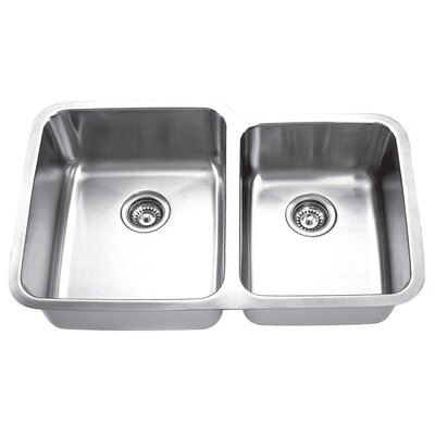 Double Bowl 31.88 x 20.63 2 Basin Undermount Kitchen Sink
