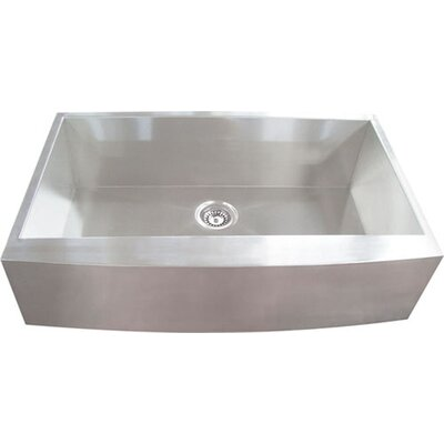 33 x 21.5 Single Square Bowl Curved Farmhouse Kitchen Sink