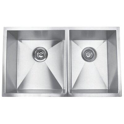 32 x 19 Undermount Double Square Bowl Kitchen Sink