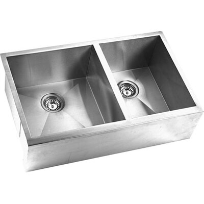 32.88 x 20.38 Double Square Bowl Straight Farmhouse Kitchen Sink