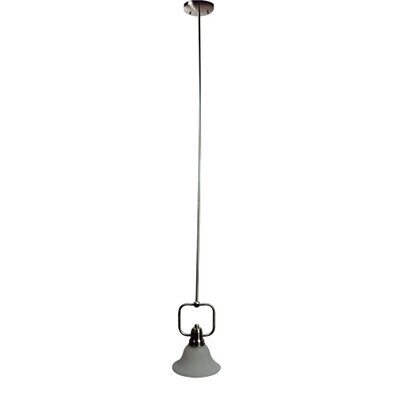 Bridal Veil 1-Light Mini Pendant Finish / Glass Shade: Satin Nickel / Frosted Alabaster