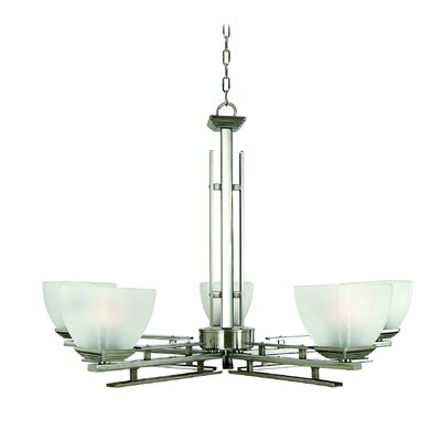 Half Dome 5-Light Shaded Chandelier Finish / Glass Shade: Satin Nickel / White Frosted