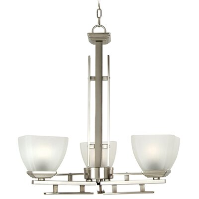 Half Dome 3-Light Shaded Chandelier Finish / Glass Shade: Satin Nickel / White Frosted