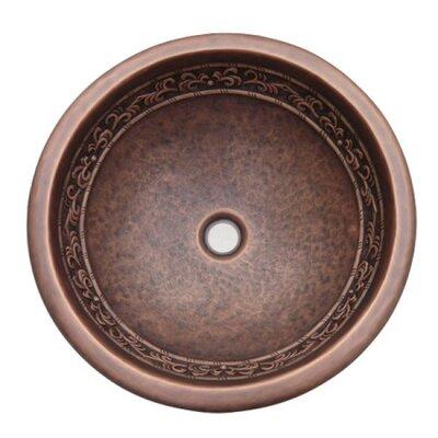 Leaf Design Topmount Metal Circular Vessel Bathroom Sink