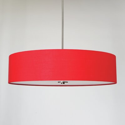 Lyell Forks 5-Light Drum Pendant Shade Color: Chili Pepper Red