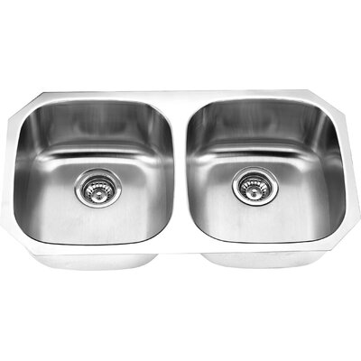 32.25 x 18.13 Undermount Double Bowl Kitchen Sink