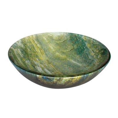 Ocean Green Circular Glass Vessel Bathroom Sink