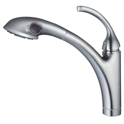 Single Handle Single Hole Kitchen Faucet with Pull-out Spout Sprayer Finish: Brushed Nickel