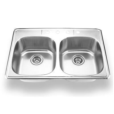 33 x 22 Topmount Double Bowl Kitchen Sink Faucet Drillings: 4 Holes