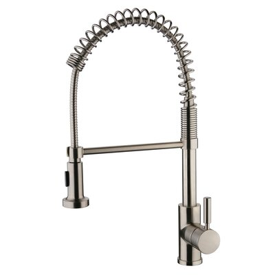 Spring Pull Out Single Handle Kitchen Faucet Finish: Brushed Nickel