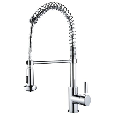 Spring Pull Out Single Handle Kitchen Faucet Finish: Polished Chrome