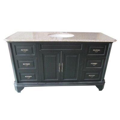 Traditional 60 Single Bathroom Vanity Set Base Finish: Mahogany
