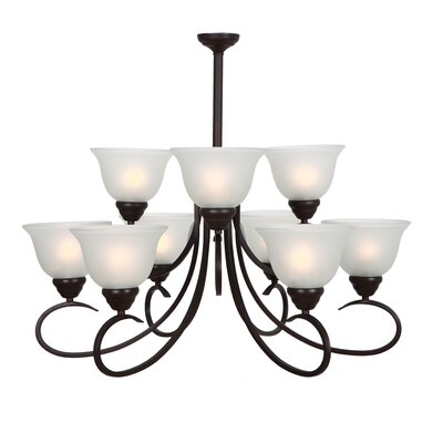 Gibson 9-Light Shaded Chandelier Finish: Oil Rubbed Bronze