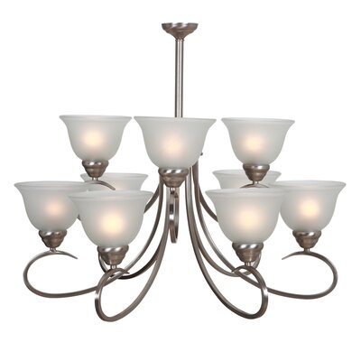Gibson 9-Light Shaded Chandelier Finish: Satin Nickel