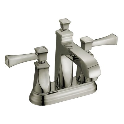 Two Handle Lavatory Centerset Deck Mount Faucet with Pop-Up Drain Finish: Brushed Nickel