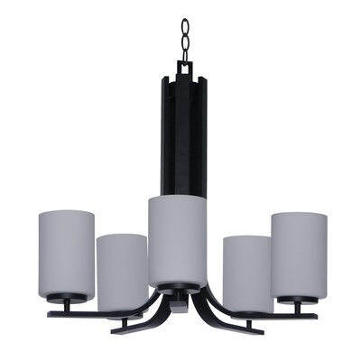 Panorama Trail 5-Light Shaded Chandelier Finish: Ebony Bronze