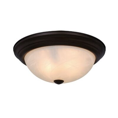 Bourdeau 2-Light Flush Mount Finish: Oil Burnished Bronze, Size: 4.5 H x 11.25 W x 11.25 D, Shade Material: Alabaster