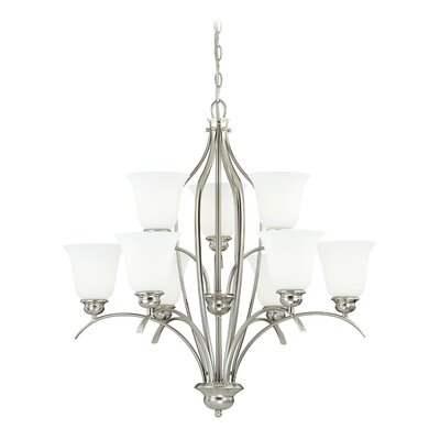 Darby 9-Light Shaded Chandelier Finish: Satin Nickel