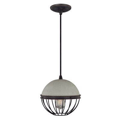 Concrete 1-Light Mini Pendant II Finish: Black Iron