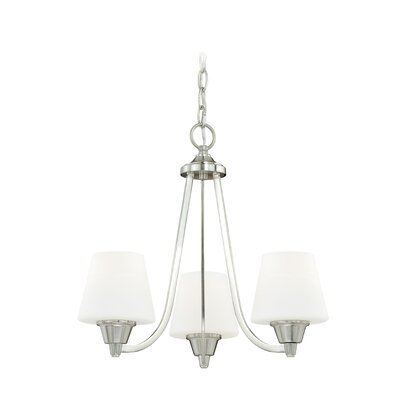Calais 3-Light Shaded Chandelier Finish: Satin Nickel