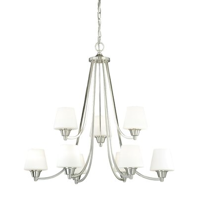 Calais 9-Light Shaded Chandelier Finish: Satin Nickel