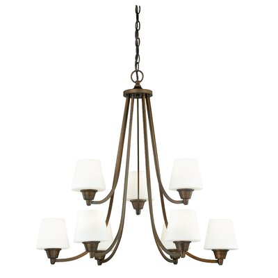 Calais 9-Light Shaded Chandelier Finish: Venetian Bronze