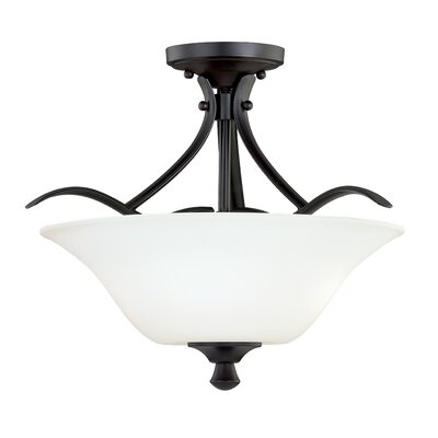 Bruening Semi Flush Mount Color: Noble Bronze, Size: 11.75 H x 13 W