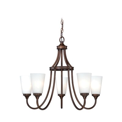 Lorimer 5-Light Shaded Chandelier Finish: Venetian Bronze
