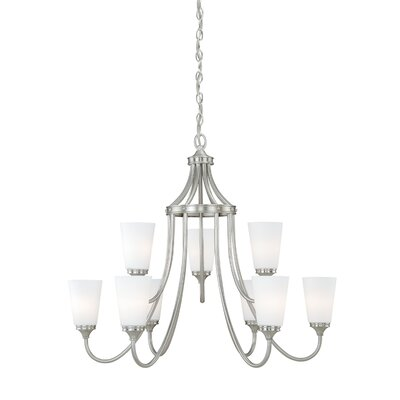 Federico 9-Light Shaded Chandelier Finish: Satin Nickel
