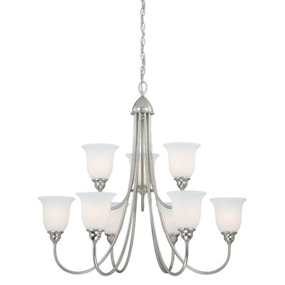 Feder 9-Light Shaded Chandelier Finish: Satin Nickel