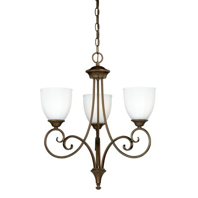Claret 3-Light Shaded Chandelier