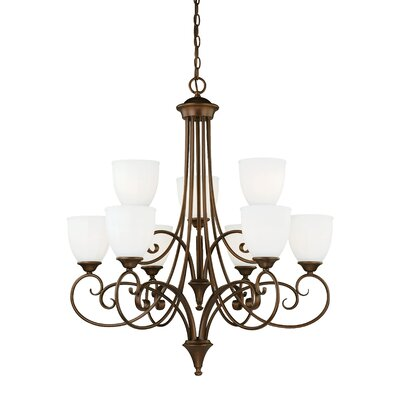 Claret 9-Light Shaded Chandelier