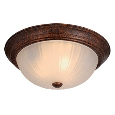 Brundage 5.25 Flush Mount Color: Weathered Patina, Size: 5.25 H x 13.25 W x 13.25 D