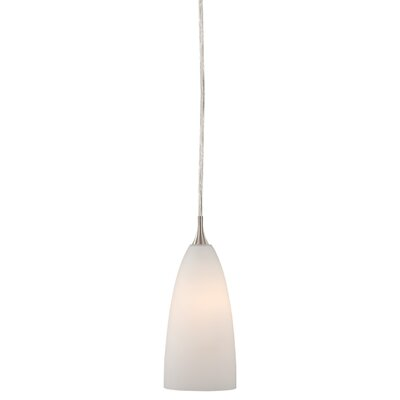 Dominique Modern 1-Light Mini Pendant Shade Color: White Glass, Size: 3.88 W