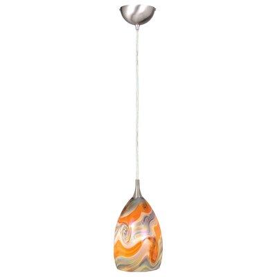 Dominique Modern 1-Light Mini Pendant Shade Color: Multi-Color Clouded Glass, Size: 4.38 W