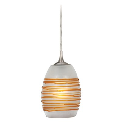 Dominique Modern 1-Light Mini Pendant Shade Color: Amber Swirl Glass, Size: 5.5 W