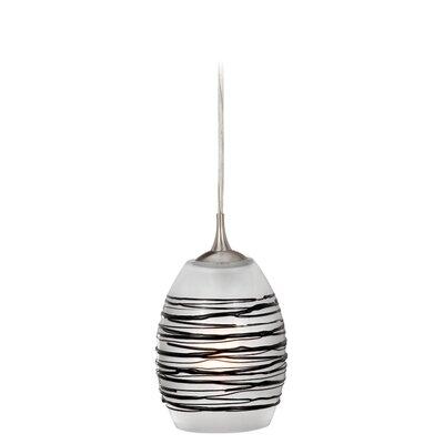 Dominique Modern 1-Light Mini Pendant Shade Color: Black Swirl Glass, Size: 5.5 W