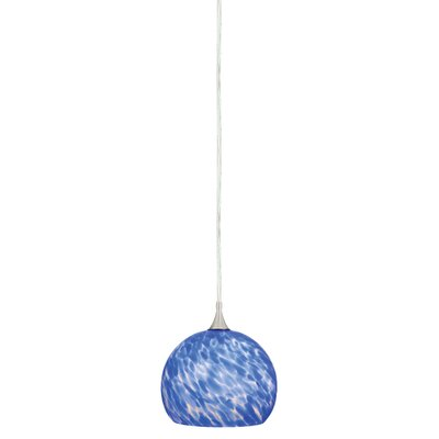 Dominique 1-Light Mini Pendant Glass Type: Azzurra, Size: 4.5 H