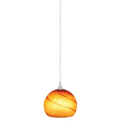 Dominique 1-Light Mini Pendant Glass Type: Lava Swirl, Size: 4.5 H