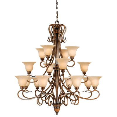 Berkeley 16-Light Shaded Chandelier Finish: Aged Walnut