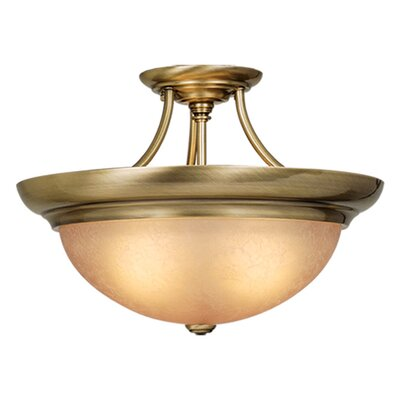 Brungardt Semi Flush Mount Color: Antique Brass, Size: 10.75 H x 15 W x 15 D