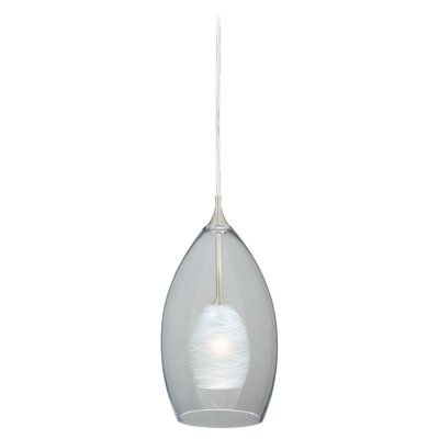 Dominique 1-Light Mini Pendant Glass Type: Cocoon White, Size: 6.9 H