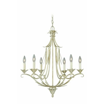 Austen 6-Light Candle-Style Chandelier Finish: Silver Leaf