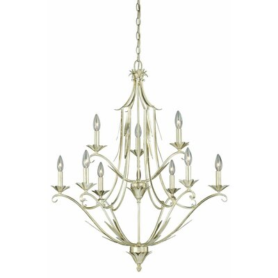 Austen 9-Light Candle-Style Chandelier Finish: Silver Leaf