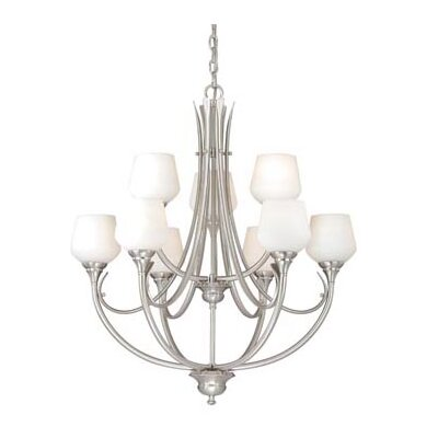 Grafton 9-Light Shaded Chandelier Finish: Satin Nickel